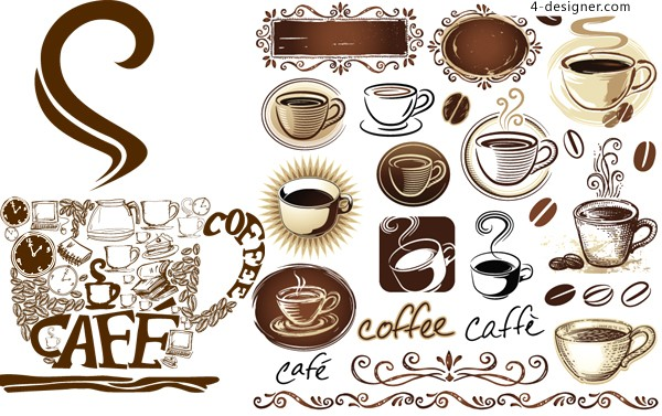 Vector material of coffee theme element with European style