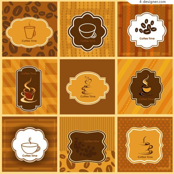 Vector material of coffee time card