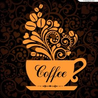 Vector material of coffee with exquisite figure background