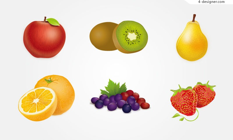 Vector material of colorful delicious fruits