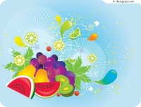 Vector material of colorful fruit fashionable element
