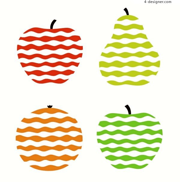 Vector material of corrugated delicious fruit pattern