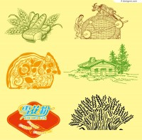 Vector material of creative agricultural products illustrator
