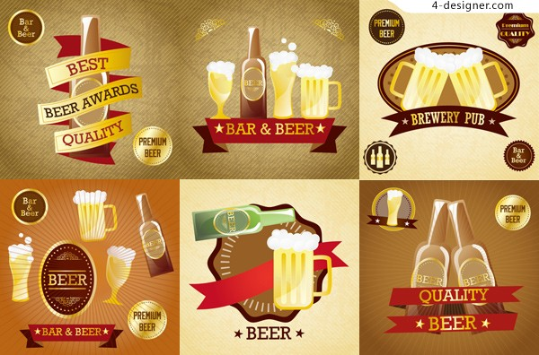Vector material of creative beer label