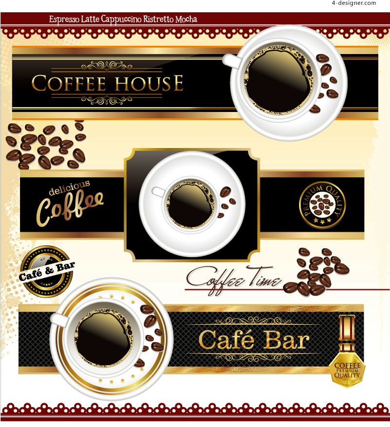 Vector material of creative coffee label