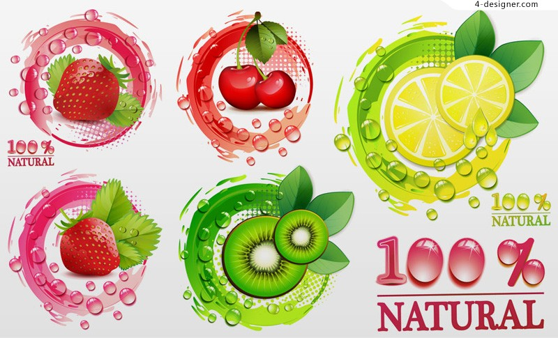 Vector material of creative fresh fruits