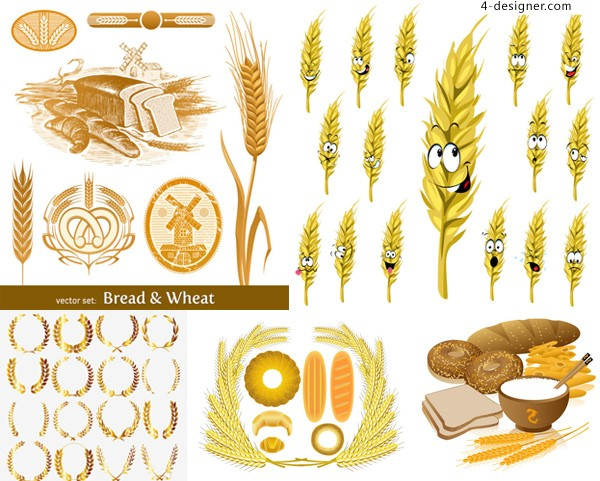 Vector material of creative wheat theme