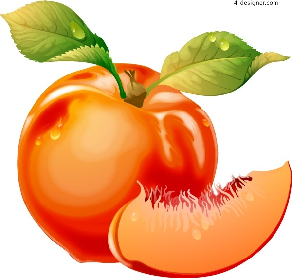 Vector material of crystal attractive cherry and peach