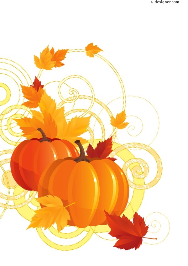 Vector material of cute pumpkin with autumn theme