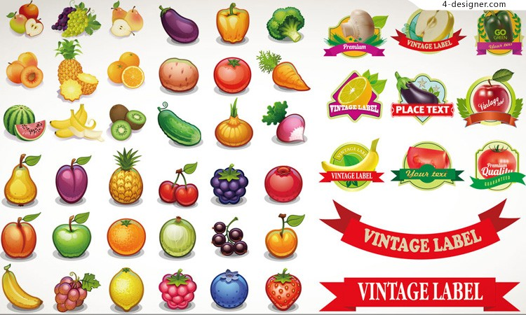 Vector material of delicious fruits and label