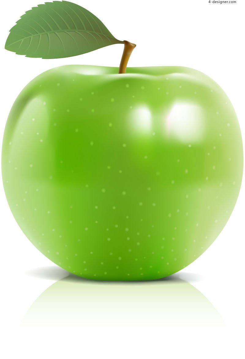 Vector material of delicious green apple