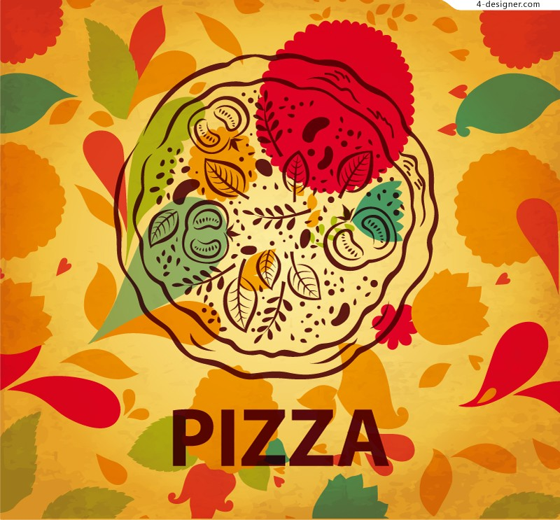 Vector material of delicious hand painted pizza