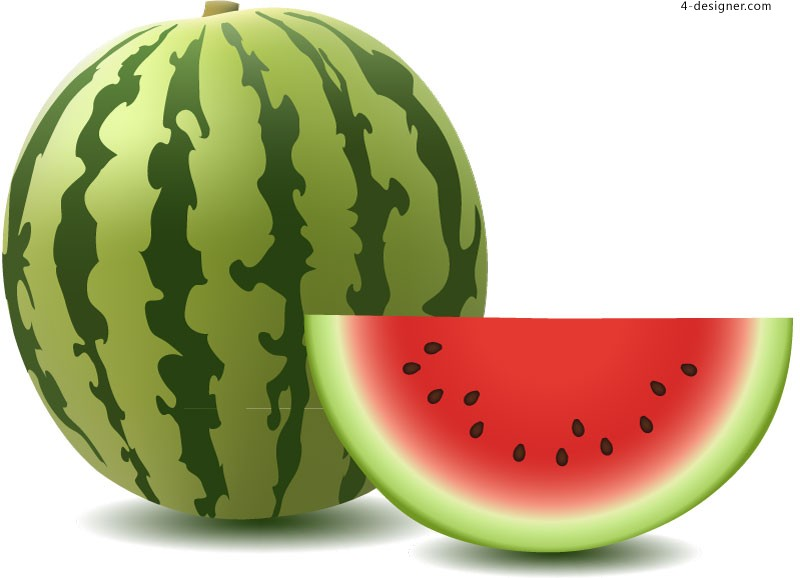 Vector material of delicious refreshing watermelon