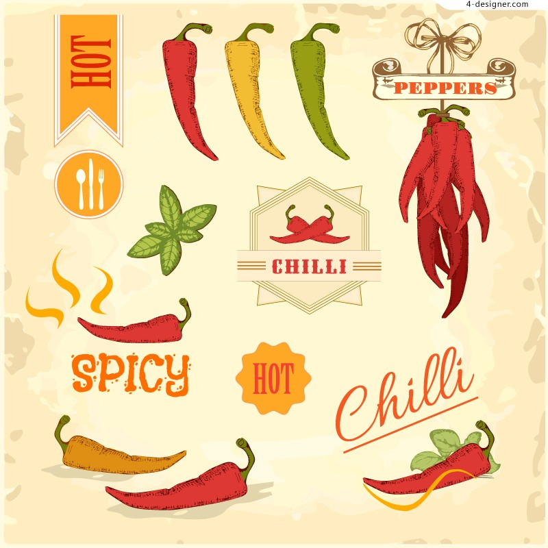 Vector material of exquisite chili food label