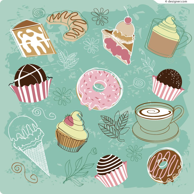 Vector material of fand painted delicious desserts