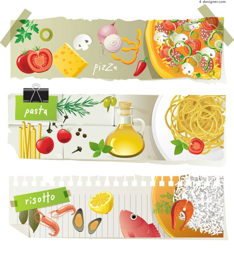 Vector material of fine food banner