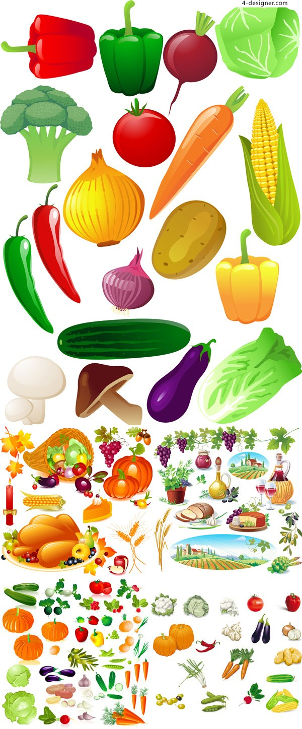 Vector material of fresh fruits and vegetables