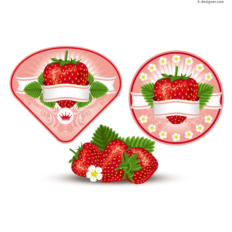 Vector material of fresh strawberry label