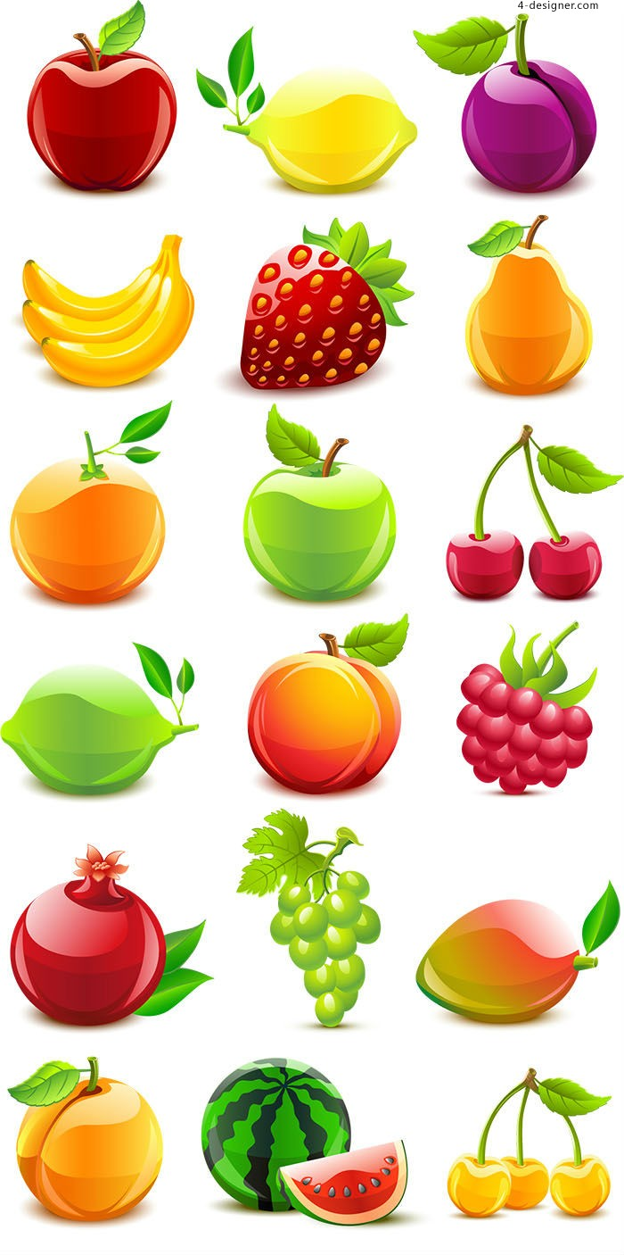Vector material of fruits with crystal texture
