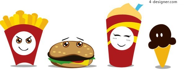 Vector material of funny cartoon fast food