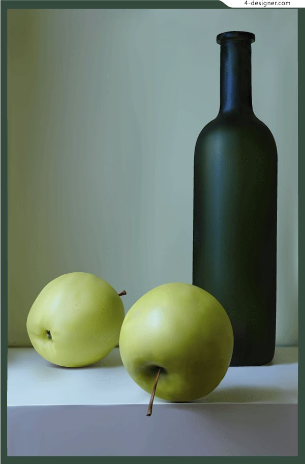 Vector material of green apple and wine bottle