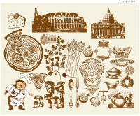 Vector material of hand drawn western food element