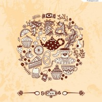 Vector material of hand painted high tea illustrator