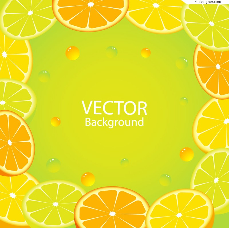 Vector material of lemon and orange background