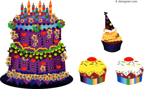 Vector material of lovely cake with cartoon style