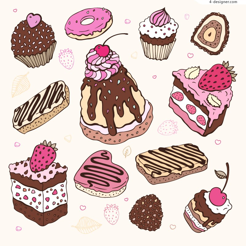 Vector material of painted cake dessert