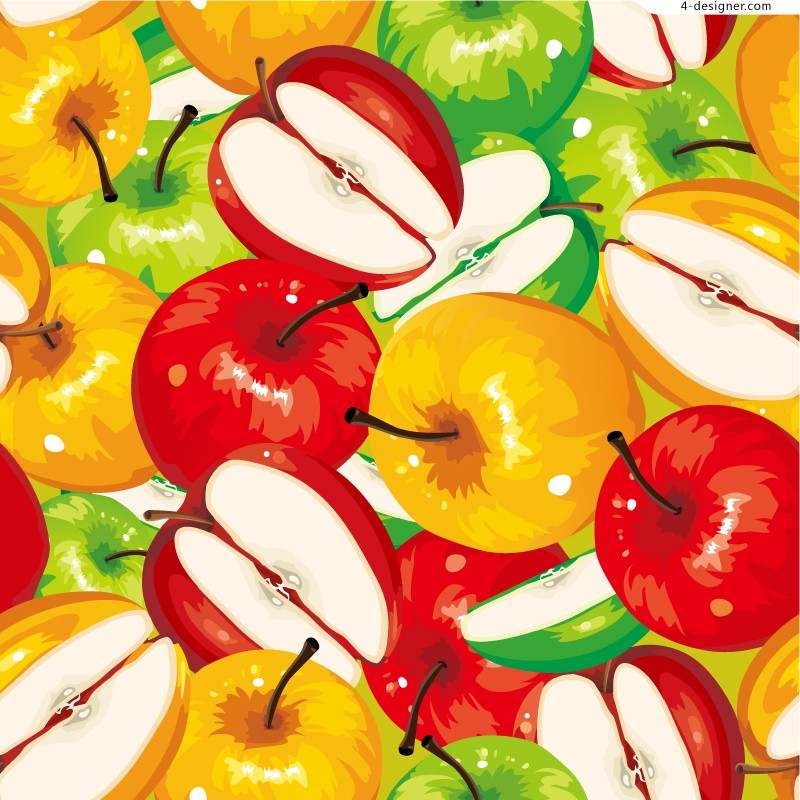 Vector material of painting style apple
