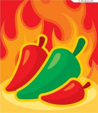 Vector material of pepper and flames background
