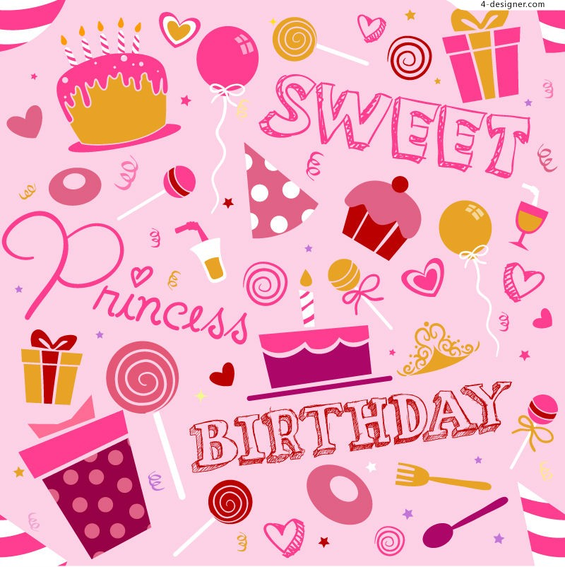 Vector material of pink birthday illustrator