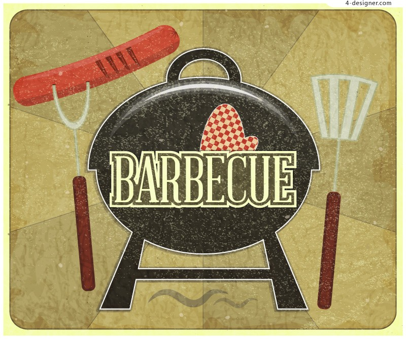 Vector material of retro barbecue poster