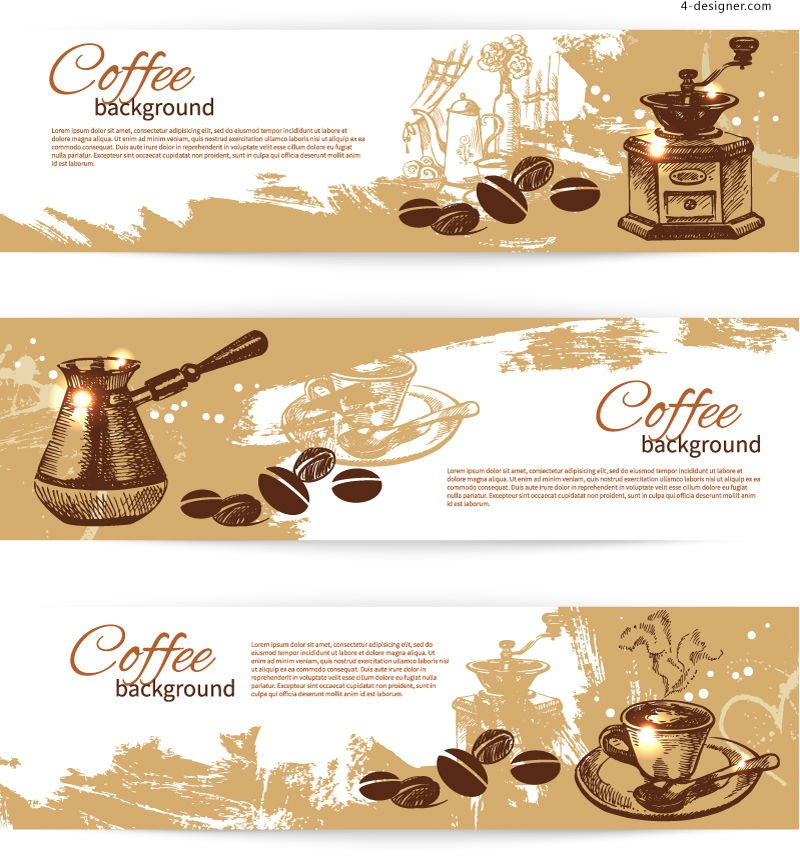 Vector material of retro coffee banner