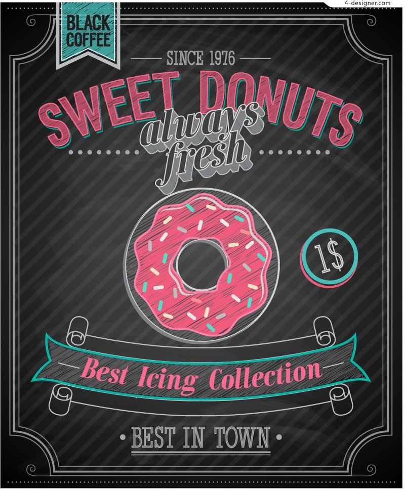 Vector material of retro donut poster