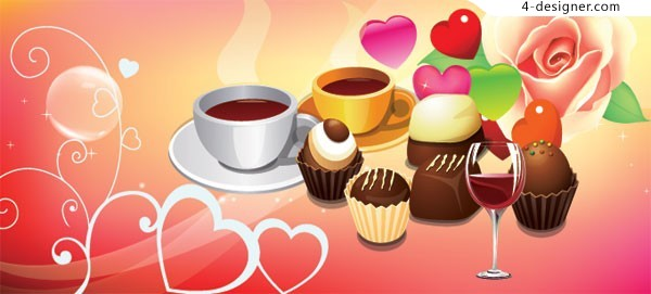 Vector material of romantic Western style pastries and coffee