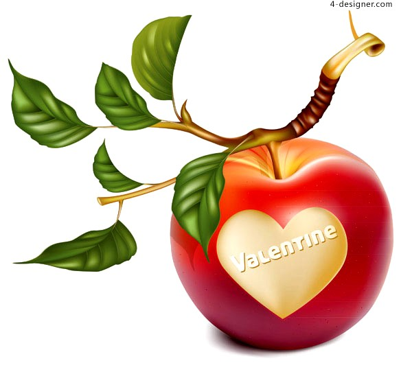Vector material of romantic heart shaped apple and cherry