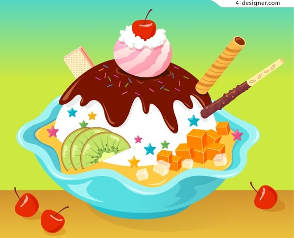 Vector material of tempting delicious ice cream
