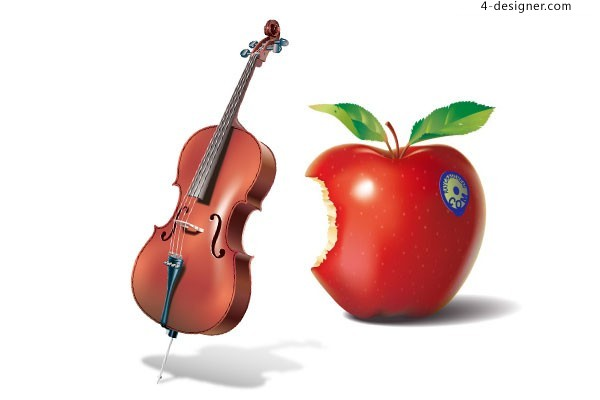 Vector material of tempting red apple and violin