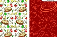 2 fruits and vegetables theme background vector materials