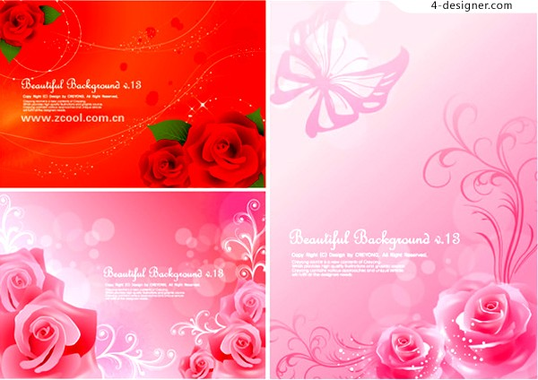 3 beautiful roses fantasy background vector materials