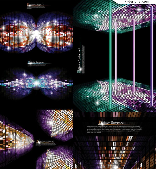 3D glare Mosaic background vector material