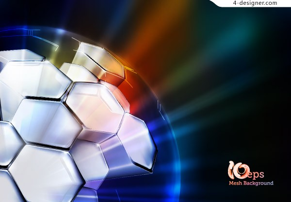 3D spherical glare background vector material
