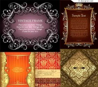 5 background vector materials with European ornate pattern