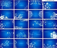 Background vector material with blue flowers pattern