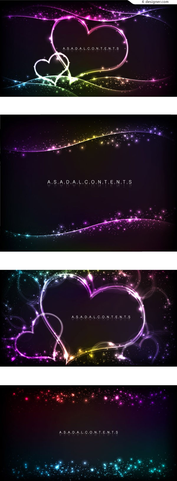 Background vector material with heart shaped neon light effect
