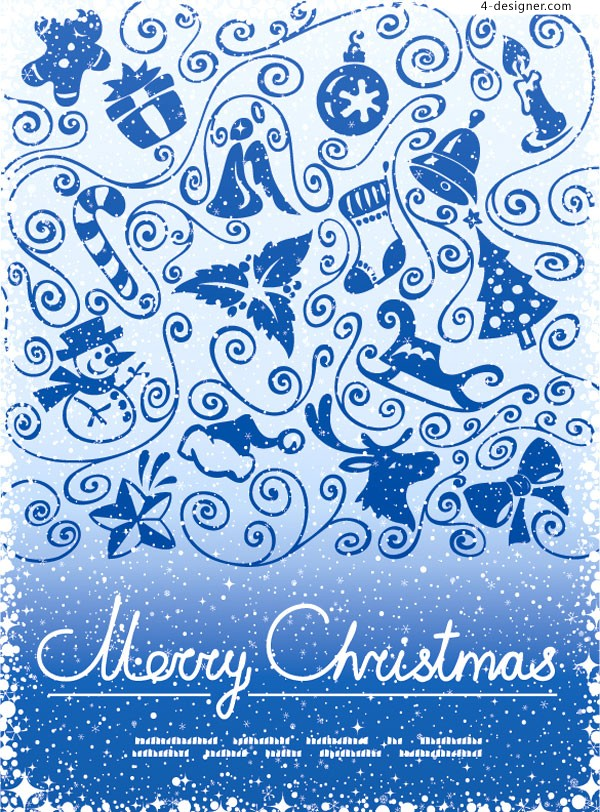 Beautiful decorated Christmas blue background vector material