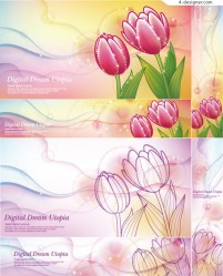 Beautiful tulips banner vector material