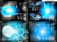 Blue Technology theme background vector material